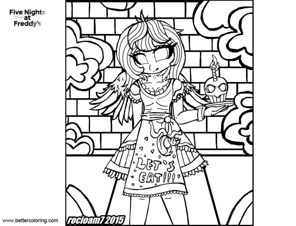 graphic relating to Fnaf Coloring Pages Printable titled FNAF Coloring Internet pages Humanized Chica via rocioam7 - Free of charge