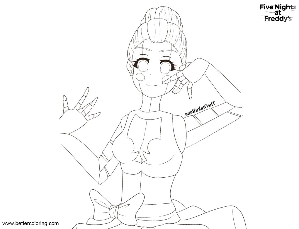 Free FNAF Coloring Pages Sister Location Ballora by TheOtakuRena printable