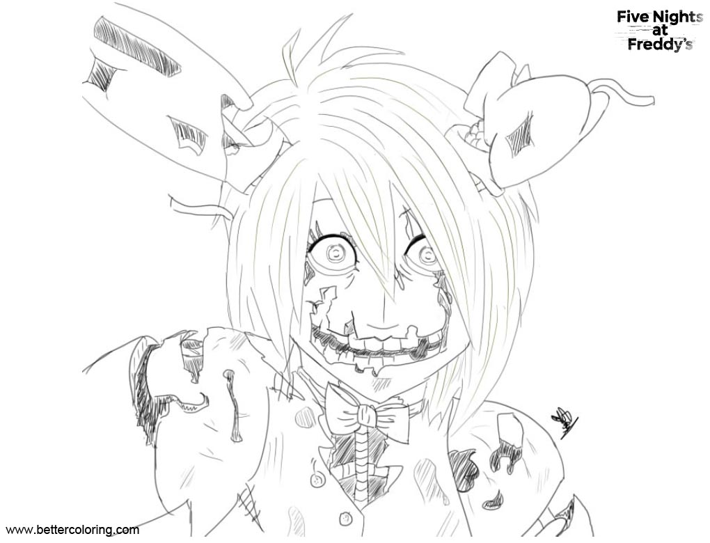 Free FNAF Coloring Pages Springtrap Humanoid by someone1290 printable