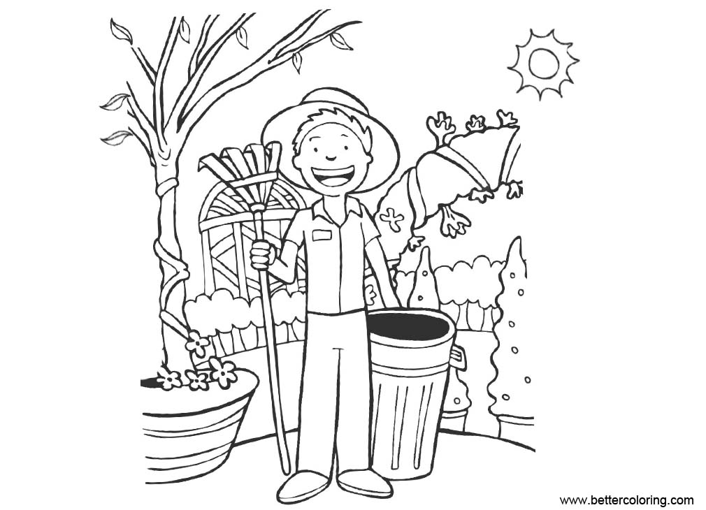 Free Garden Coloring Pages Boy and Gardening Tools printable