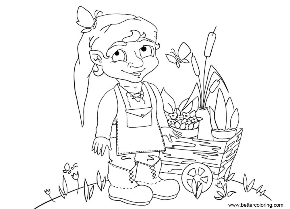 Free Garden Coloring Pages Garden Gnome Lineart by masha88 printable