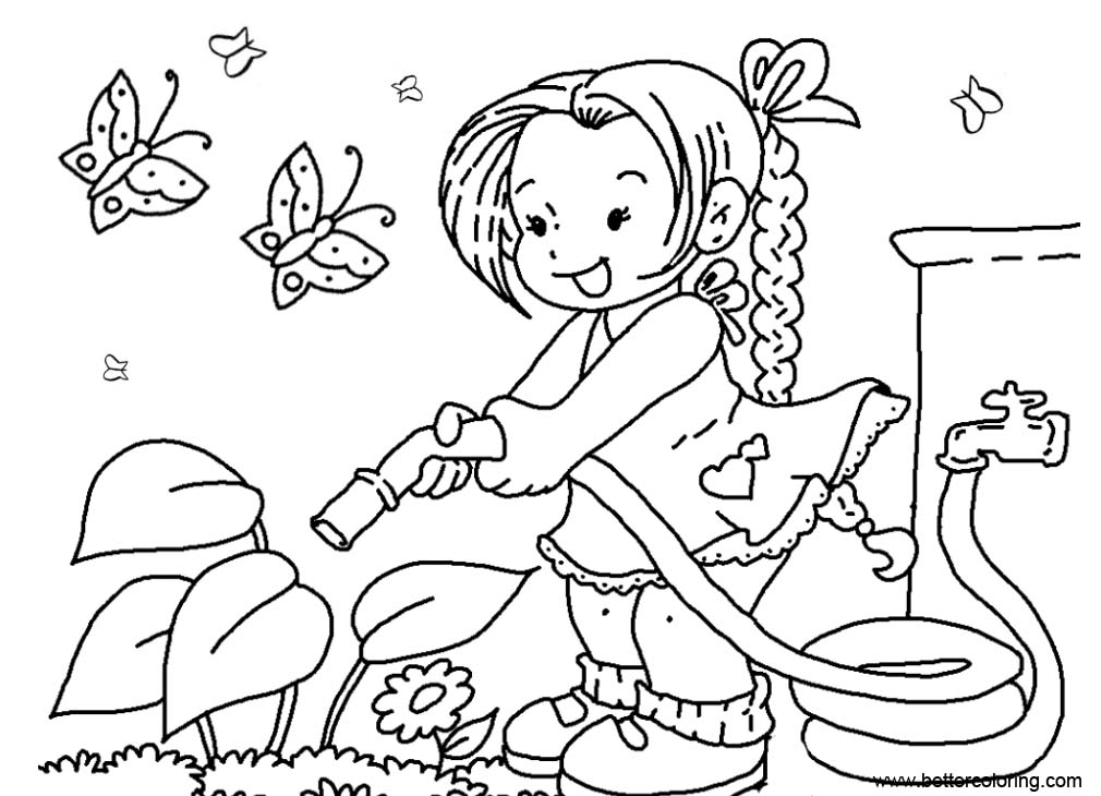 Free Garden Coloring Pages Girl Watering Flowers printable