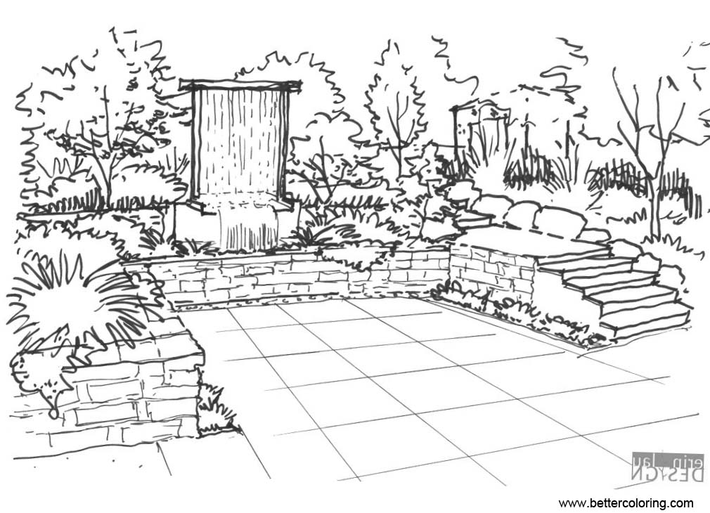 Free Garden Coloring Pages Inking Drawing printable