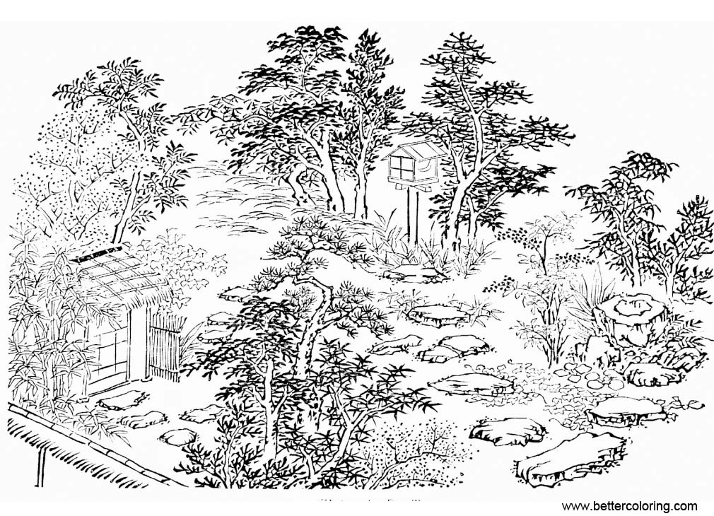Free Garden Coloring Pages From Japan Printable For Kids And Adults