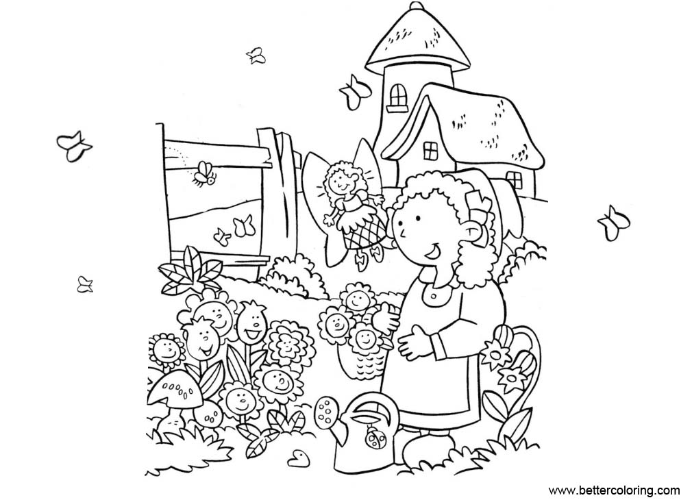 Free Garden Coloring Pages with Fairy and Butterfly printable