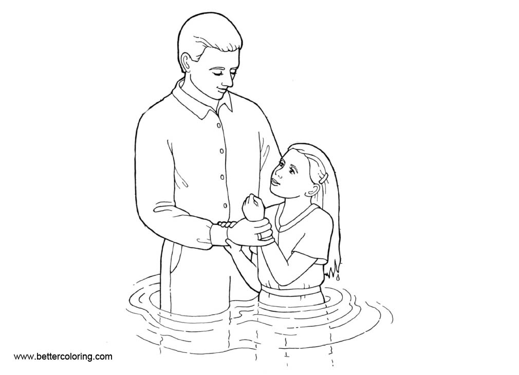 Girl Baptism Coloring Pages Free