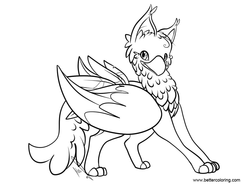 Free Griffin Coloring Pages Gryphon Lines by jaclynonacloudlines printable