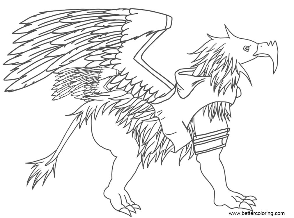 Free Griffin Coloring Pages with Clothes printable