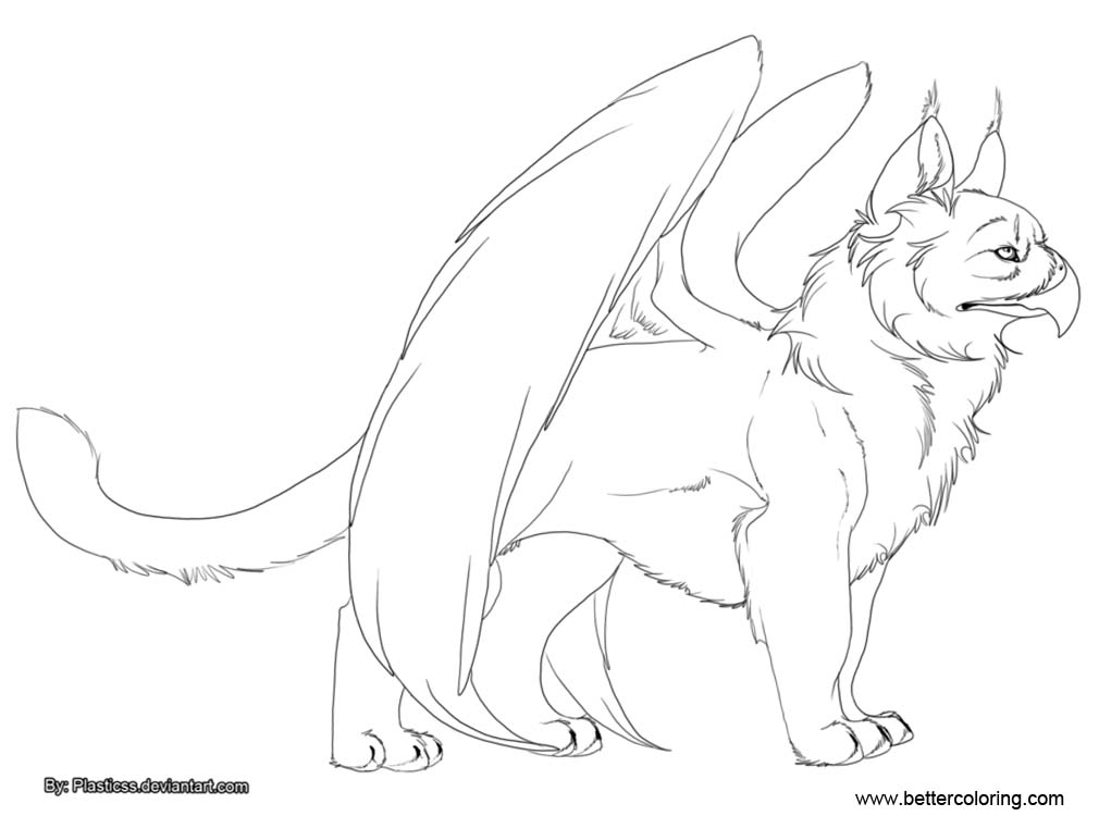Free Gryphon Coloring Pages Black and White printable