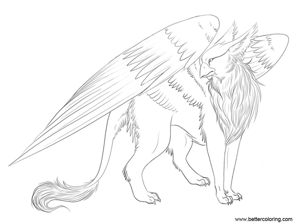 Free Gryphon Coloring Pages Griffin Hand Drawing by Keitana printable
