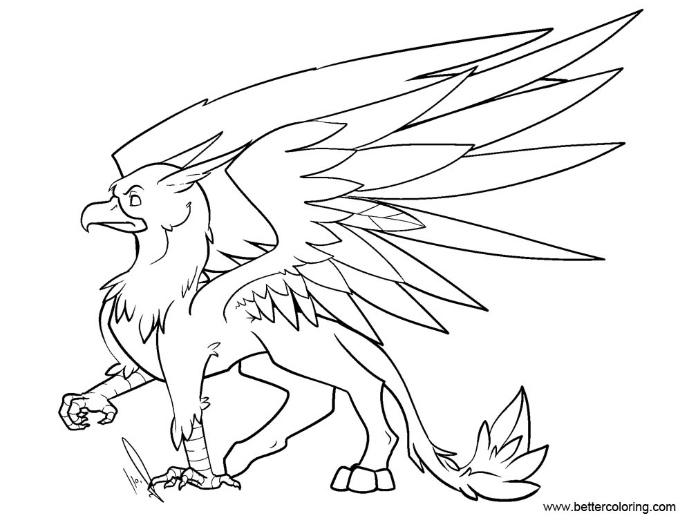 Gryphon Coloring Pages Griffin Sketch by ...