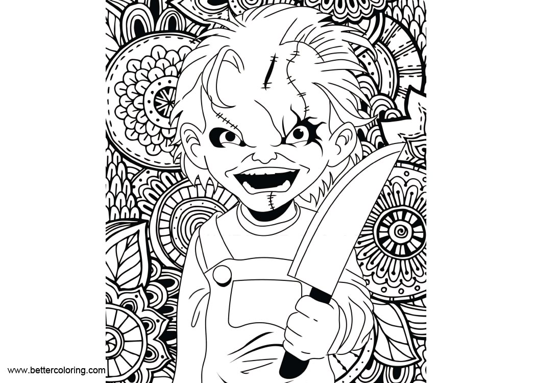 Free Horror Chucky Coloring Pages printable