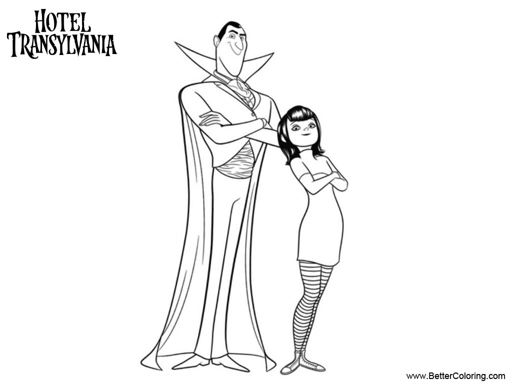 Free Hotel Transylvania Coloring Pages Mavis and Her Dad printable