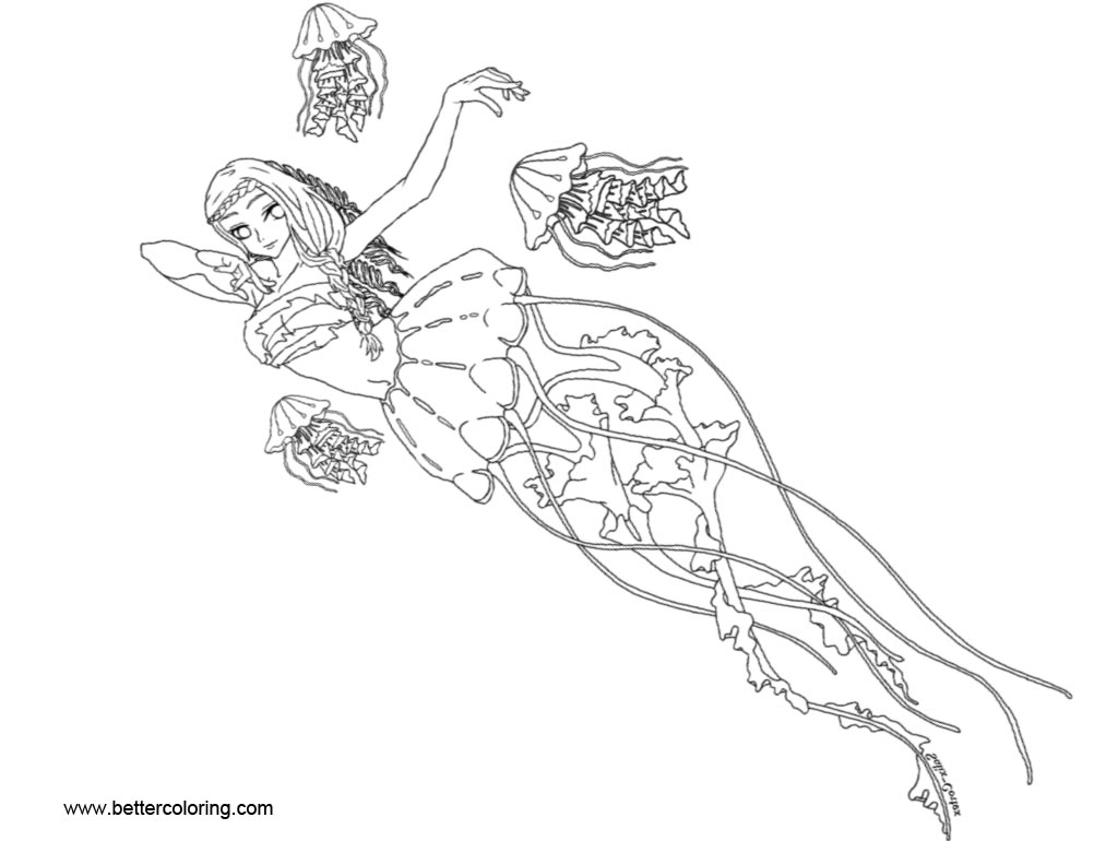 Free Jellyfish Lady Coloring Pages by Salix Cortex printable