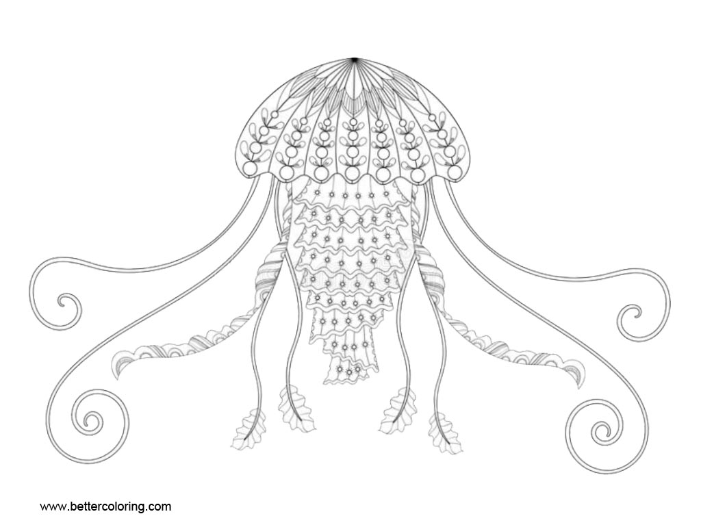 Free Jellyfish Zentangle Coloring Pages printable