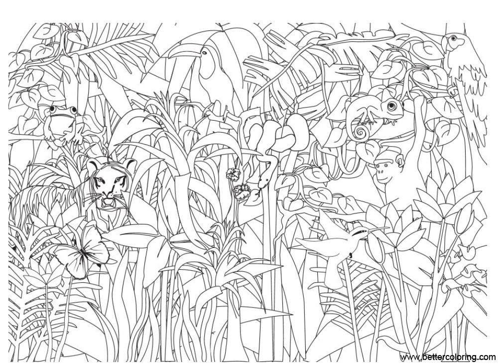 Free Jungle Coloring Pages Animals in the Plants printable