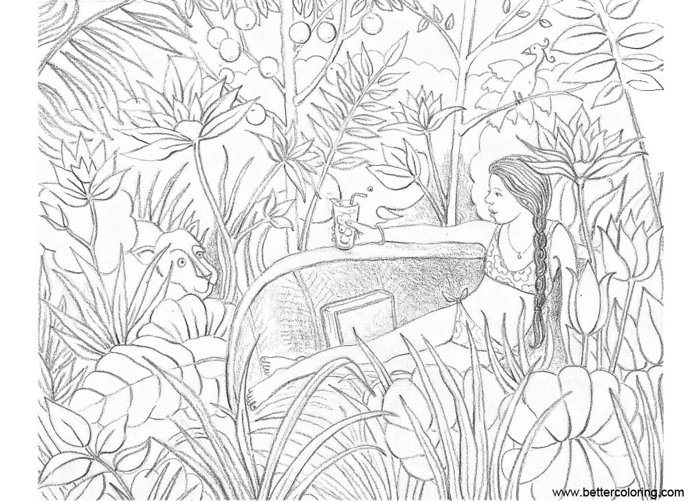 Free Jungle Coloring Pages Girl with Animal printable