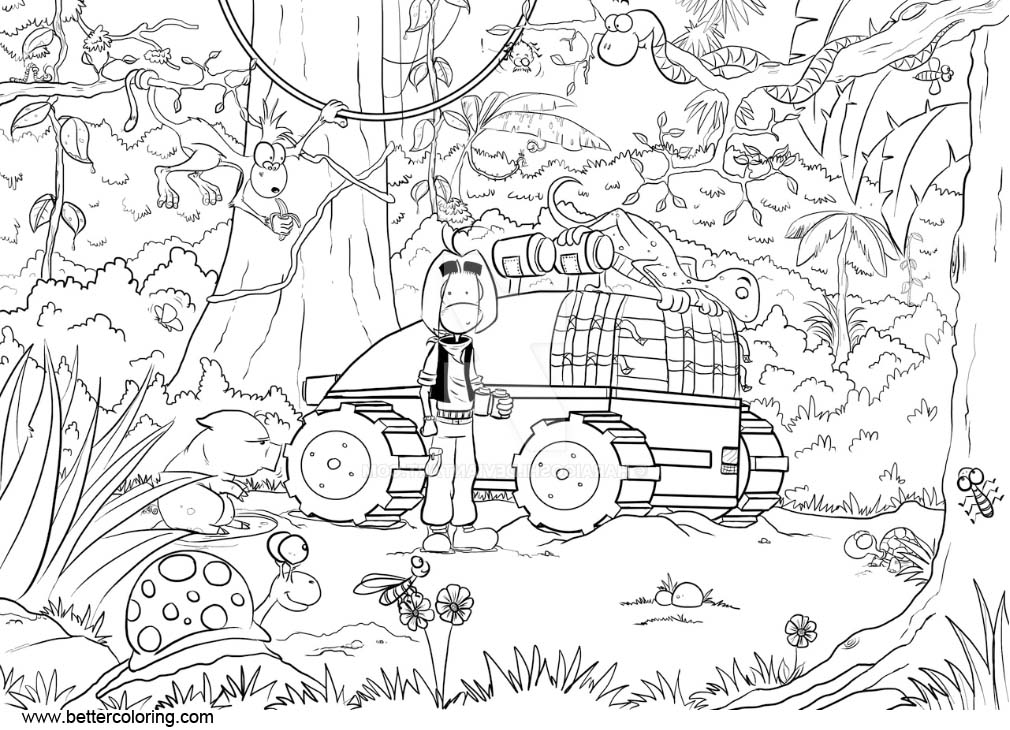Free Jungle Coloring Pages Nate in the Jungle by Haraigos printable