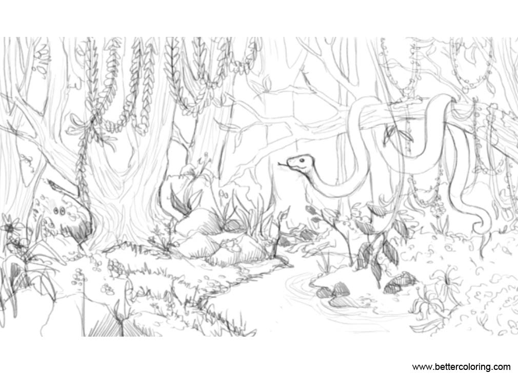 Free Jungle Coloring Pages Snake on the Tree printable