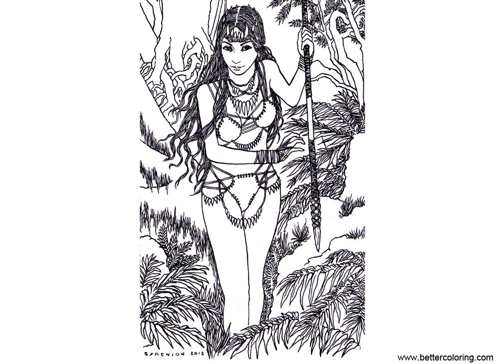 Free Jungle Girl Coloring Pages printable