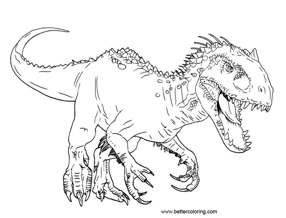 jurassic world echo coloring pages | Jurassic World Coloring Pages Adominus Rex - Free ...