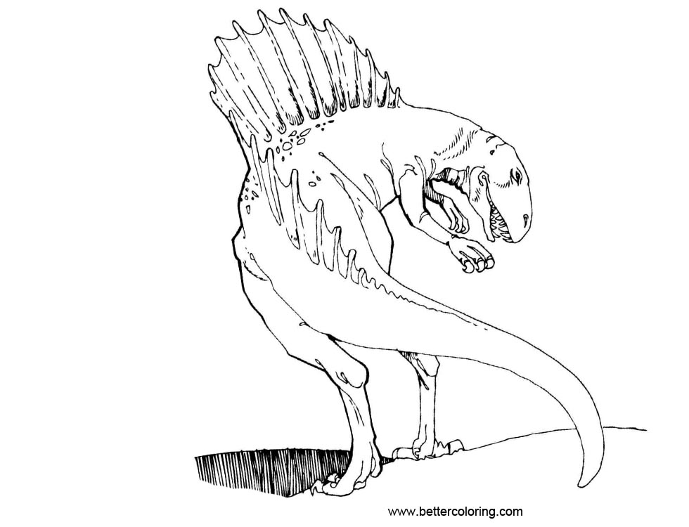 Free Jurassic World Coloring Pages Baryonyx Lineart printable