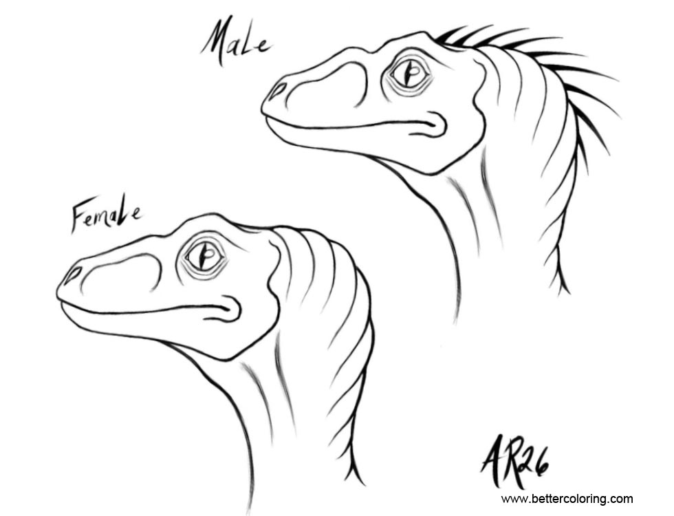 Free Jurassic World Coloring Pages Raptor sketches by AyaRaptor26 printable