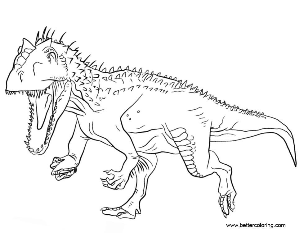 Jurassic World Indominus Rex Coloring Pages Free Printable