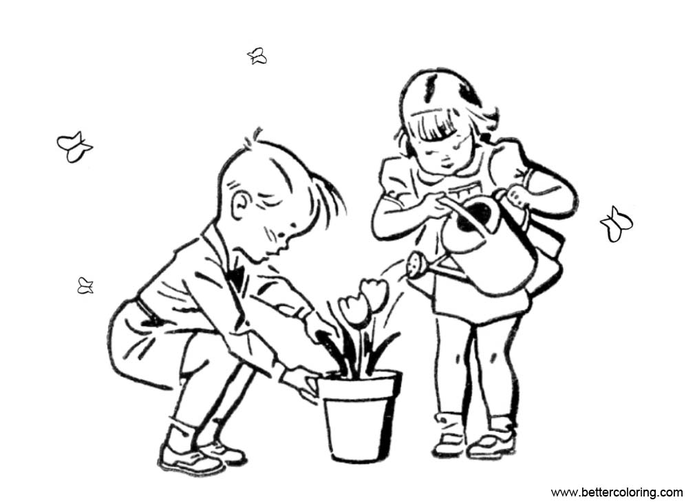 Free Kids in Garden Coloring Pages printable