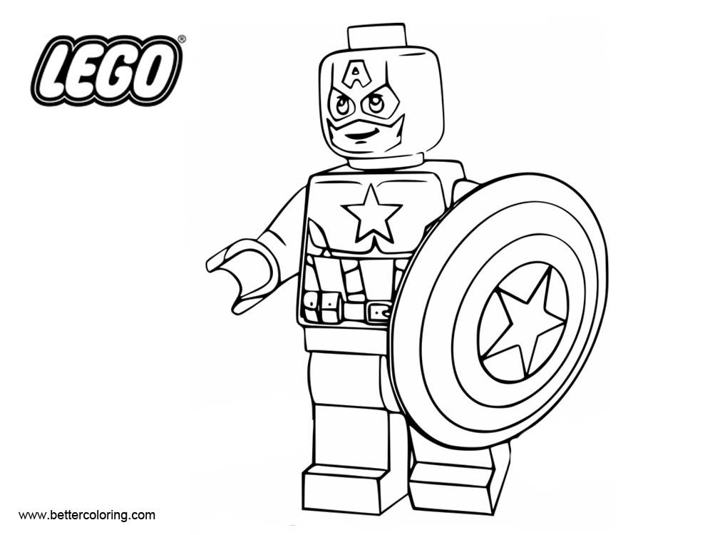 LEGO Captain America Coloring Pages Superhero - Free Printable ...