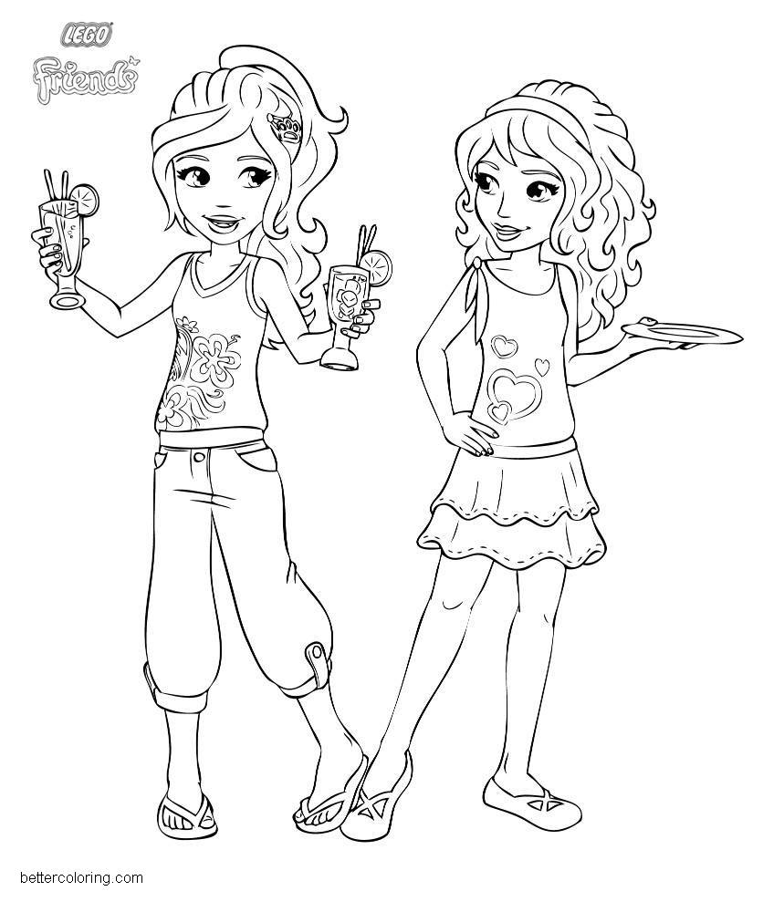 Free LEGO Friends Coloring Pages Girls with Food and Drink printable