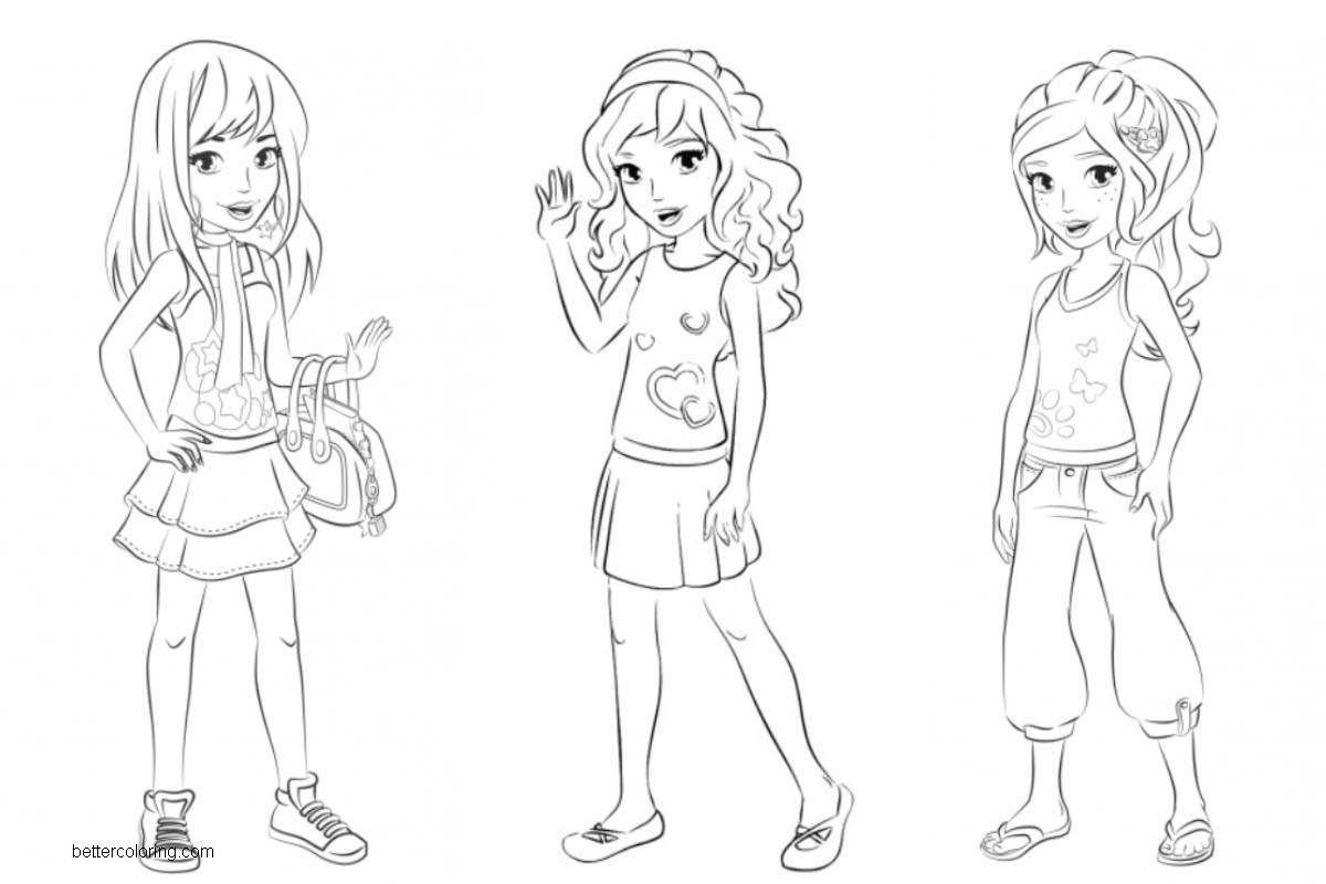 Free LEGO Friends Coloring Pages Mia Olivia and Stephanie printable