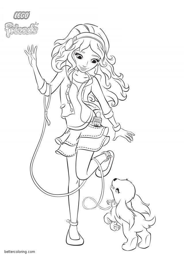 Lego Friends Coloring Pages Play With Puppy Free