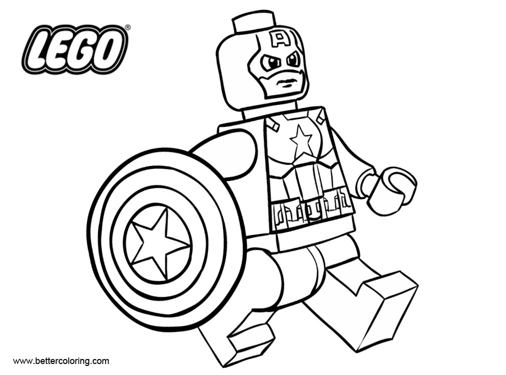 Free LEGO Superhero Coloring Pages Captain America Outline printable