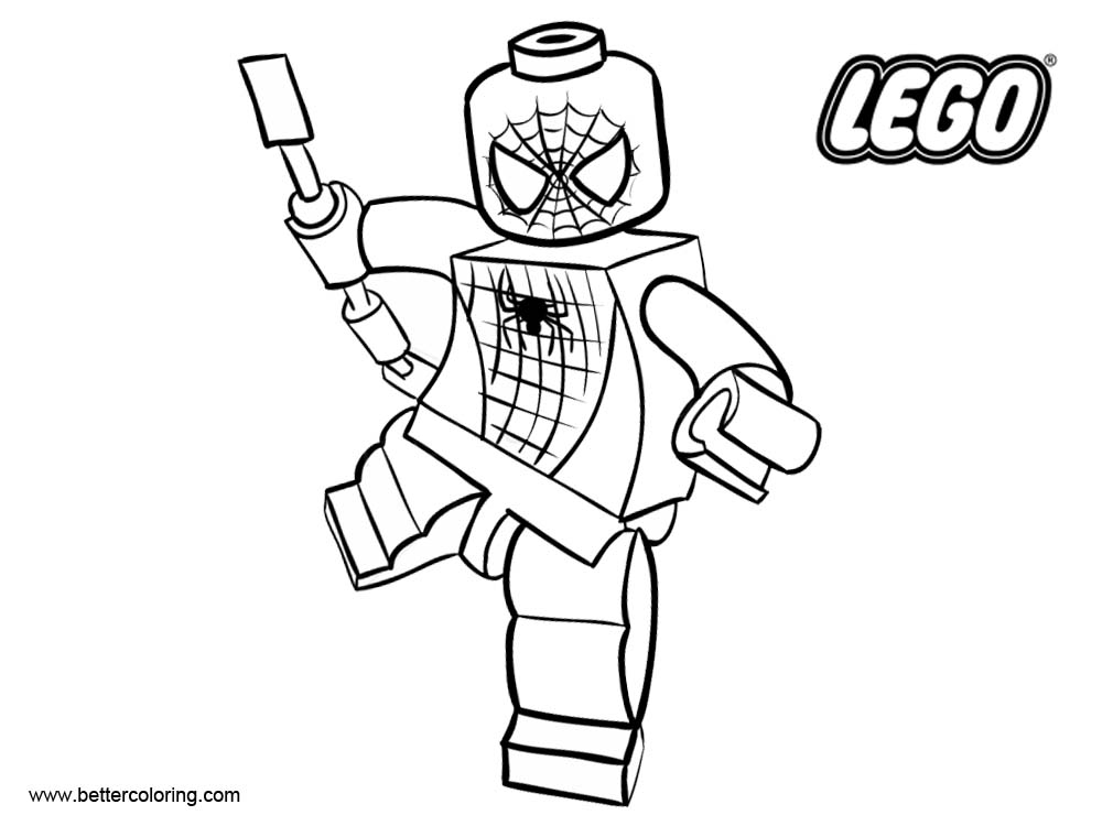 Free LEGO Superhero Coloring Pages Spiderman Fighting printable