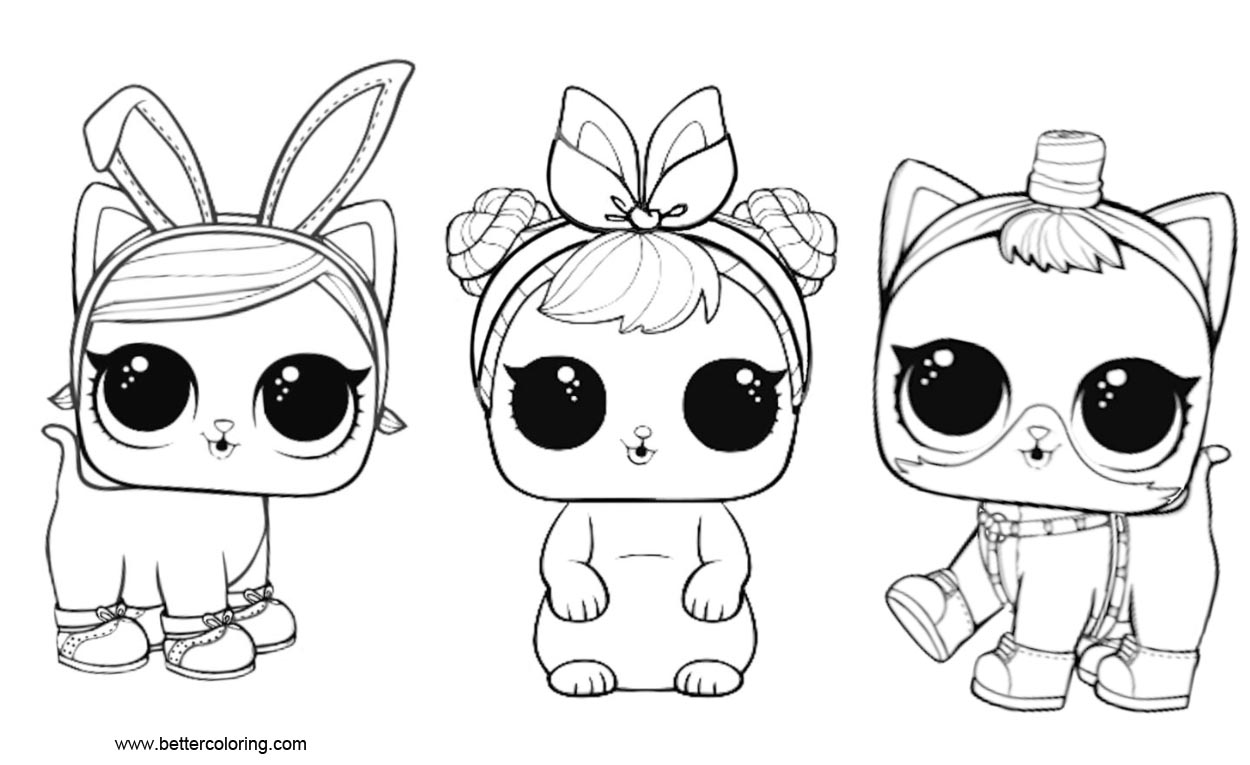 LOL Pets Coloring Pages 3 In 1 - Free Printable Coloring Pages