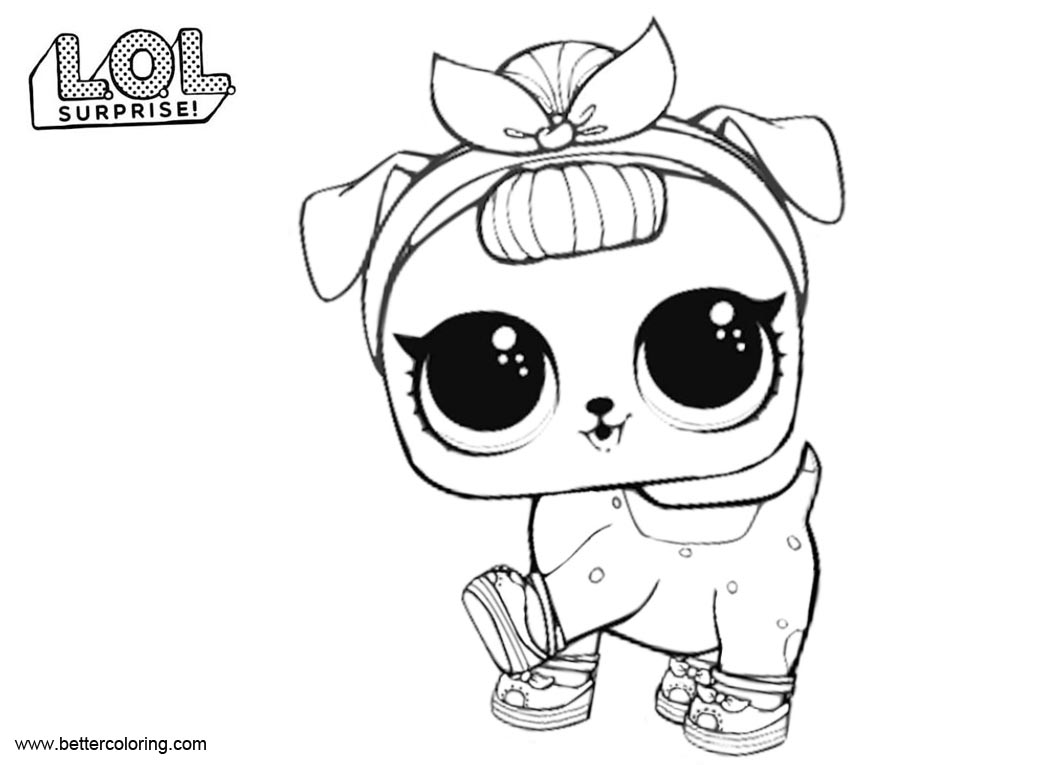 Free LOL Pets Coloring Pages B B Pup printable