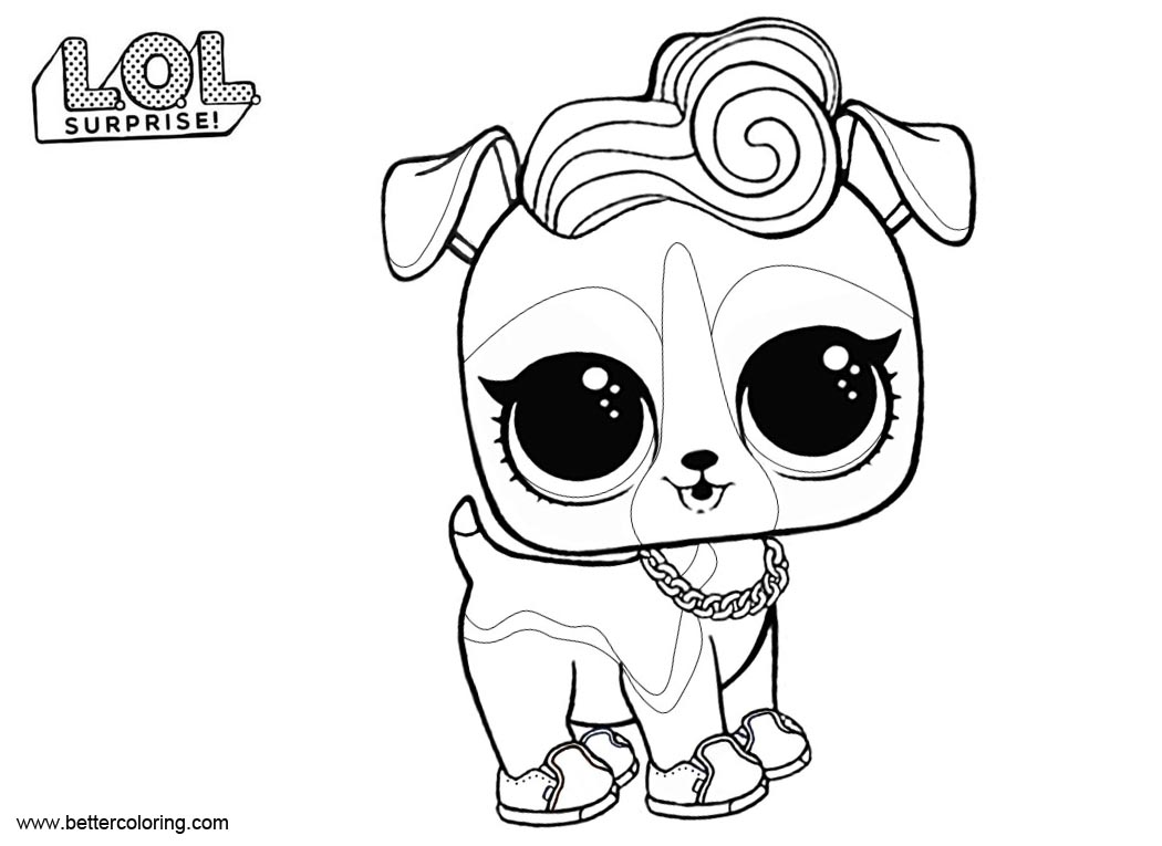 Free LOL Pets Coloring Pages DJ K9 printable