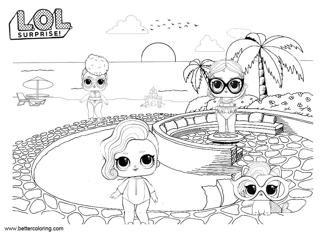 Free LOL Pets Coloring Pages Dolls with Pet printable