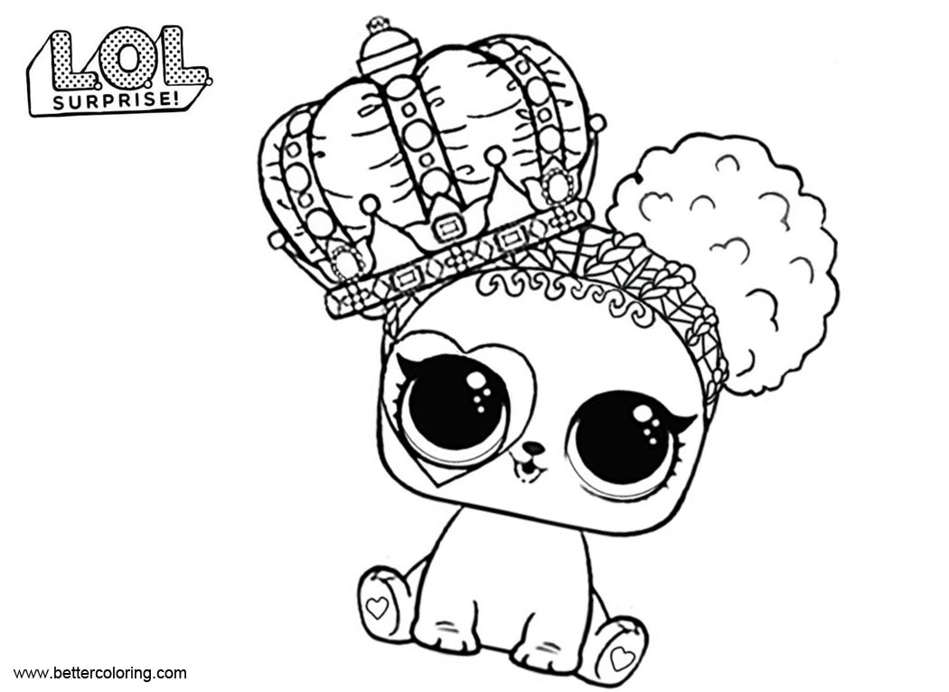 Free LOL Pets Coloring Pages Heart Barker printable