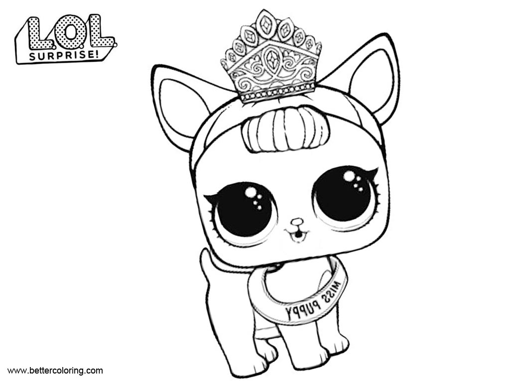 Free LOL Pets Coloring Pages Miss Puppy printable