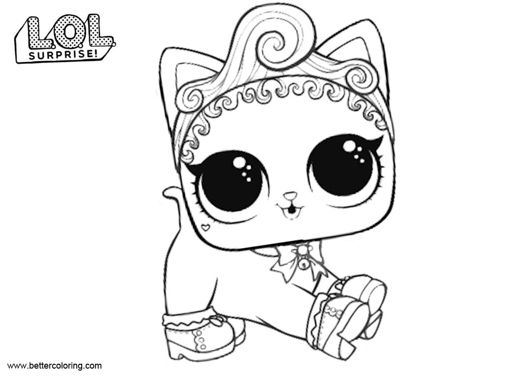 Free LOL Pets Coloring Pages Royal Kitty Cat printable