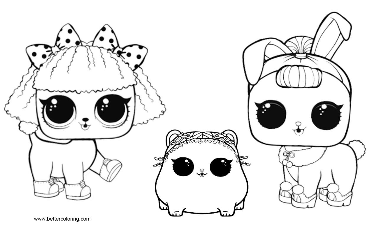 LOL Pets Coloring Pages Three Pets