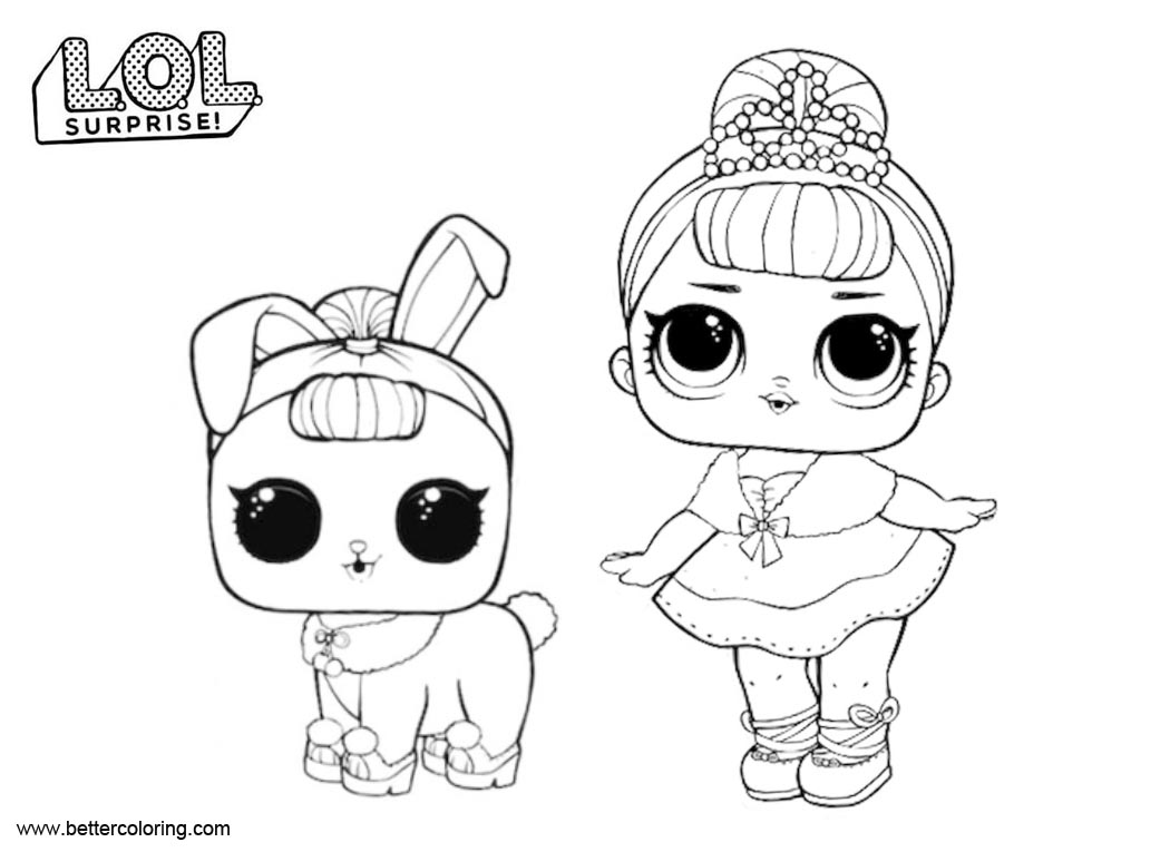 Lol Surprise Pets Coloring Pages Crystal Queen And Bunny Free