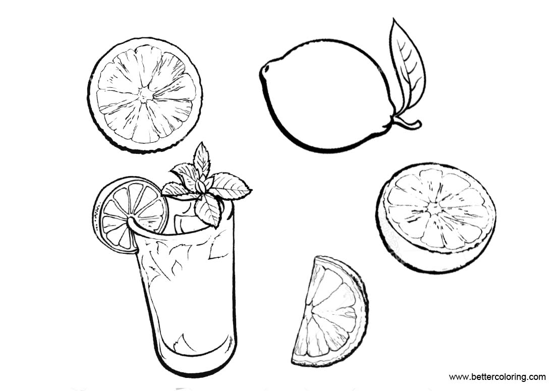 Free Lemonade Coloring Pages and Fruit printable