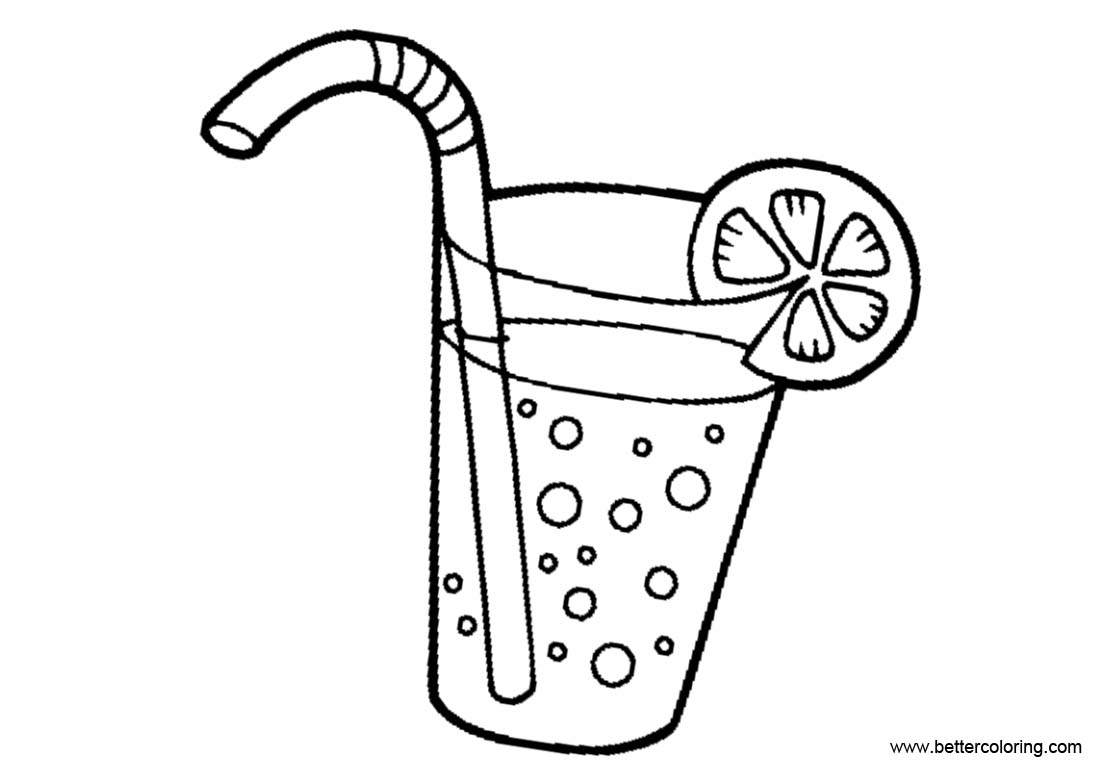 Free Lemonade Coloring Pages with Bubbles printable