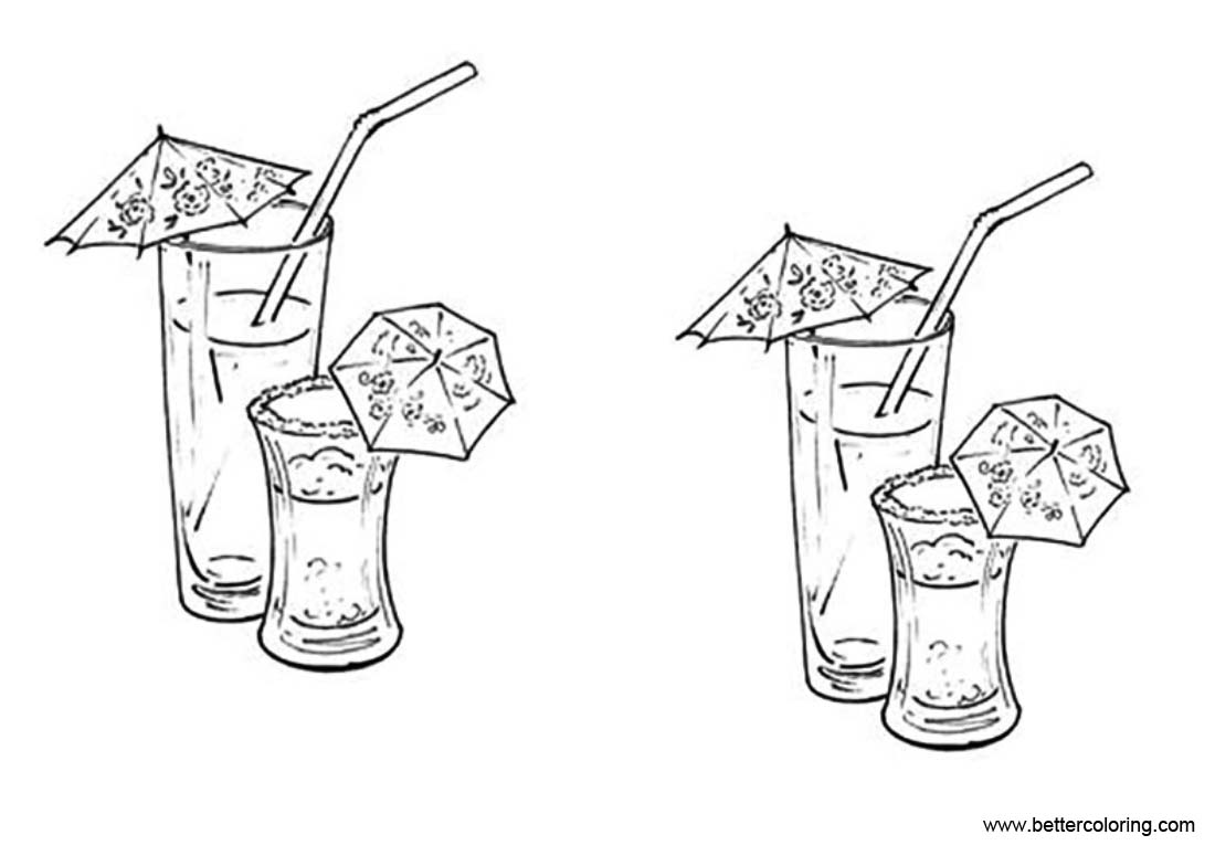Free Lemonade Coloring Pages with Umbrella printable