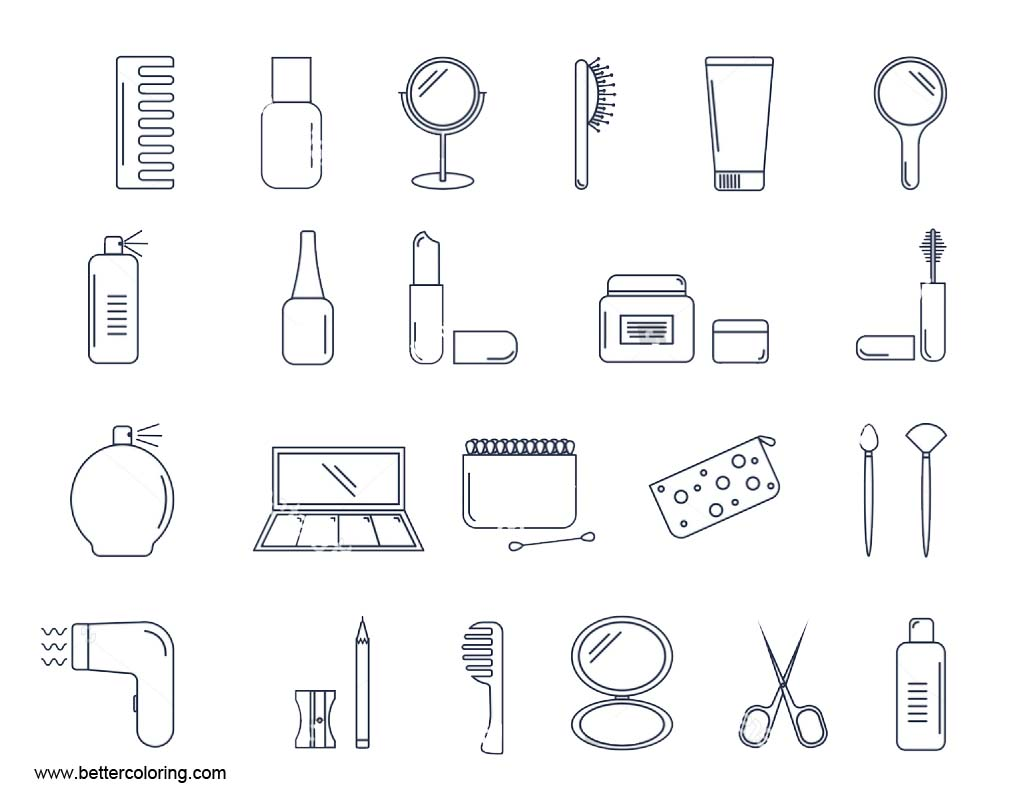 Free Makeup Coloring Pages Accessories printable