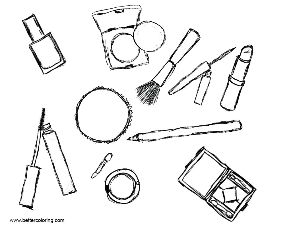 Makeup Coloring Pages Cosmetics