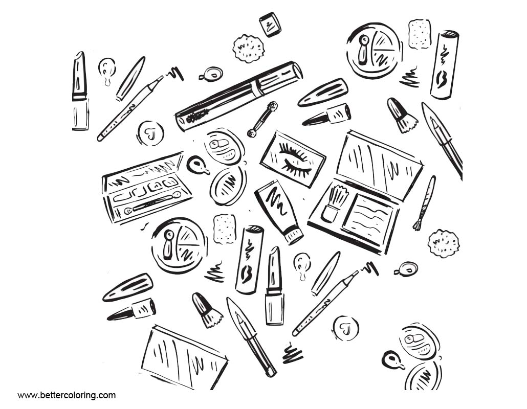 Makeup Coloring Pages Hand Drawing